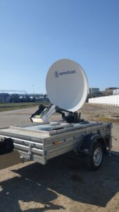 The VR7 quick-deploy, auto-point antenna mounted to a trailer.